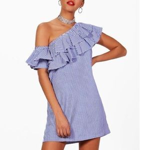 NWT ASOS seersucker one shoulder ruffle dress